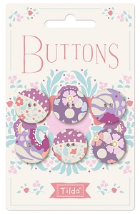Tilda Plum Garden - Fabric Covered Buttons 20mm Pack of 6 *** PRE-ORDER - ARRIVING 1ST JULY 2019 ***