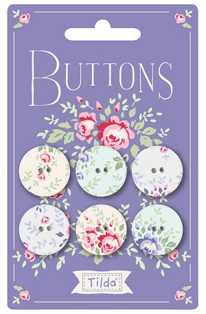 Tilda Old Rose Fabric Covered Buttons 20mm Pack of 6