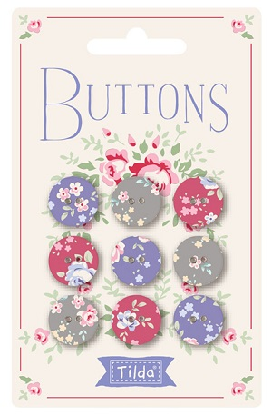 Tilda Old Rose Fabric Covered Buttons 15mm Pack of 9