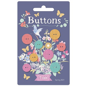 Tilda Gardenlife Chambray Buttons 12mm and 15mm Pack of 8 *** PRE-ORDER - ARRIVING MAY 2021 ***