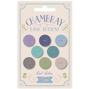 Tilda Chambray Buttons 15mm Pack of 8 In Cool Colours *** PRE-ORDER - ARRIVING MAY 2021 ***