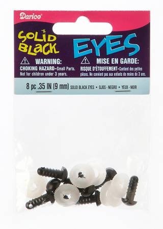 Soft Toy or Animal Safety Eyes Black 9mm pack of 4 sets