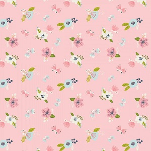 Camelot Fabrics - I Believe In Unicorns - Flowers in Pink