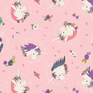 Camelot Fabrics - I Believe In Unicorns - Unicorns & Flowers in Pink