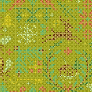 Andover Fabrics Holiday Crossed in Olive