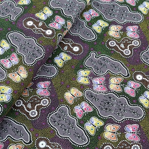 M & S Textiles Australia - Butterfly Dance Dreaming Purple by Joey Waitairie