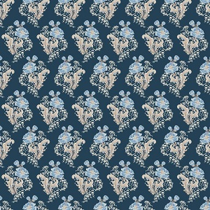 Penny Rose Fabrics - Forget Me Not Main in Navy *** REMNANT PIECE 63CM X 112CM ***