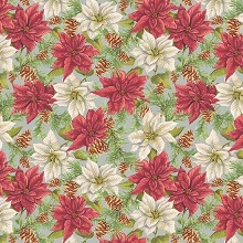 Penny Rose Fabrics - Anne of Green Gables Christmas - Poinsettias Grey