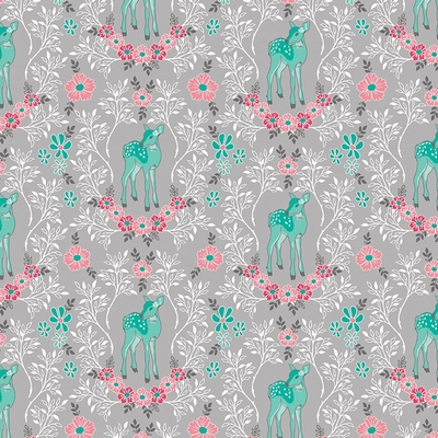 Riley Blake Designs - Flora & Fawn Deer Gray