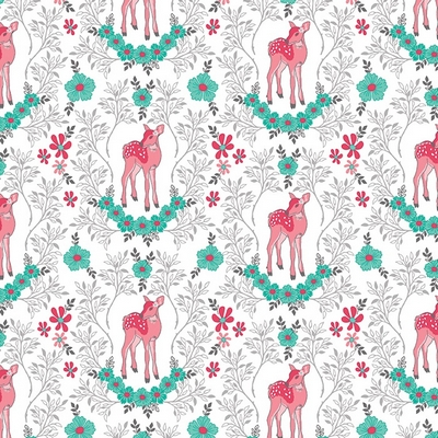 Riley Blake Designs - Flora & Fawn Deer White