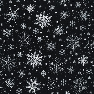 Christmas Timeless Treasures Let it Snow Snowflakes in Black