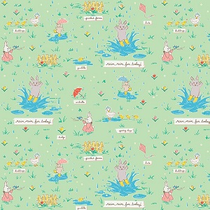 Penny Rose Fabrics - Bunnies and Blossoms Puddles Mint