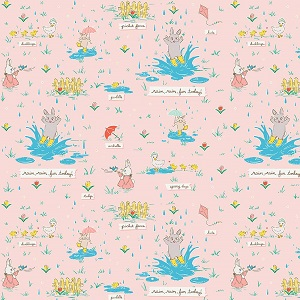 Penny Rose Fabrics - Bunnies and Blossoms Puddles Pink *** REMNANT PIECE 44CM X 112CM***