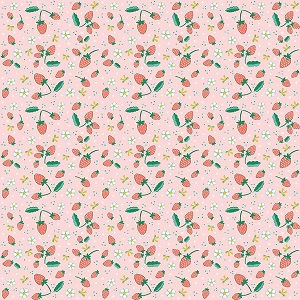 Penny Rose Fabrics - Bunnies and Blossoms Strawberries Pink