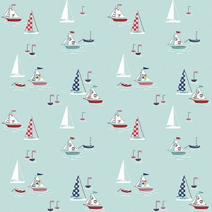 Riley Blake Designs - Seaside Boats in Aqua