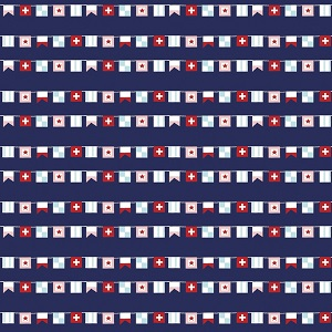 Riley Blake Designs - Seaside Flags in Navy