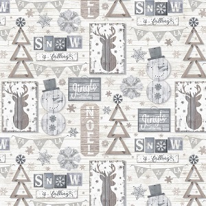 Christmas Timeless Treasures Snow is Falling Wall Hangings in Cream