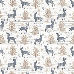 Christmas Timeless Treasures Snow is Falling Deer and Trees in Cream