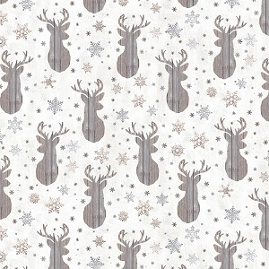 Christmas Timeless Treasures Snow is Falling Deer and Snowflakes in Cream