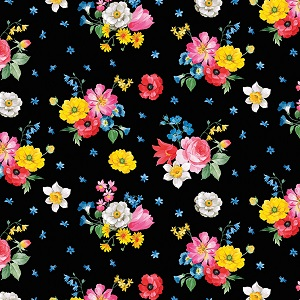 Penny Rose Fabrics - Afternoon Picnic Floral in Black