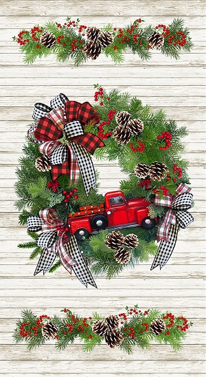 Christmas Timeless Treasures Red Truck Christmas Wreath Panel