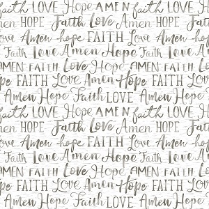 Christmas Timeless Treasures Faith Words in White