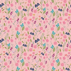 Riley Blake Designs - In The Meadow Flower Field in Pink *** REMNANT PIECE 63CM X 112CM ***