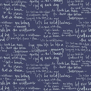 Riley Blake Designs - In The Meadow Text in Navy