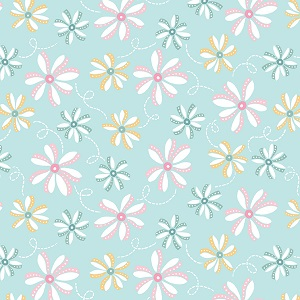 Penny Rose Fabrics - Perfect Party Floral in Blue