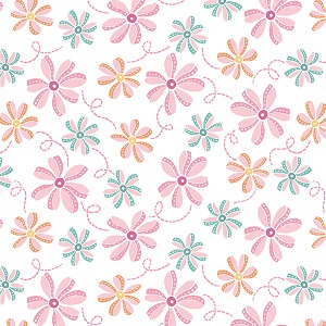 Penny Rose Fabrics - Perfect Party Floral in White