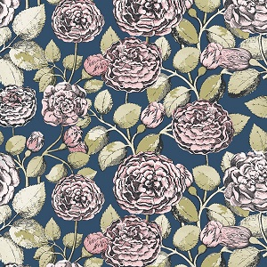 Penny Rose Fabrics - Sweet Stems Main in Dark Blue *** REMNANT PIECE 30CM X 112CM ***