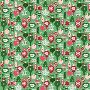 Riley Blake Designs - Merry and Bright Ornaments in Light Green