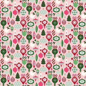Riley Blake Designs - Merry and Bright Ornaments in Pink