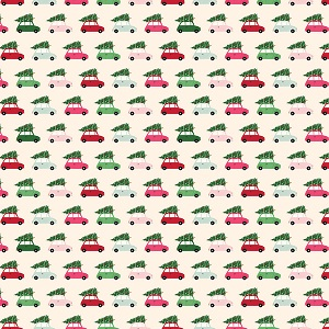 Riley Blake Designs - Merry and Bright Cars in Cream