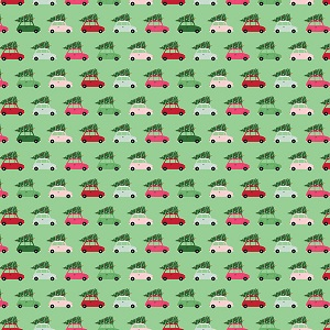 Riley Blake Designs - Merry and Bright Cars in Light Green