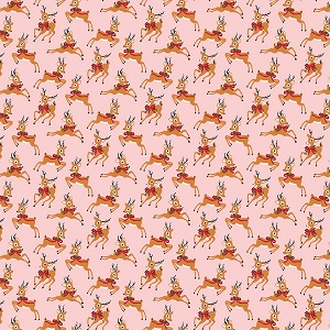 Riley Blake Designs - Merry and Bright Deer in Pink