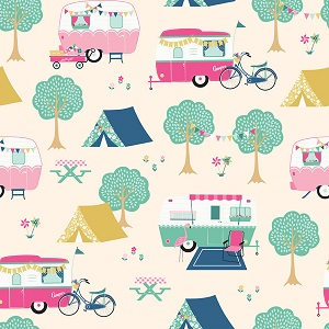 Riley Blake Designs - I'd Rather Be Glamping Main in Cream