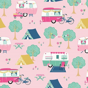 Riley Blake Designs - I'd Rather Be Glamping Main in Pink