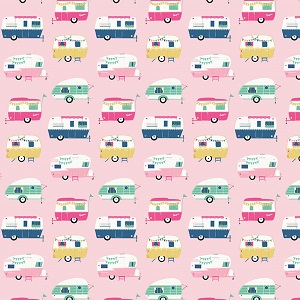 Riley Blake Designs - I'd Rather Be Glamping Campers in Pink