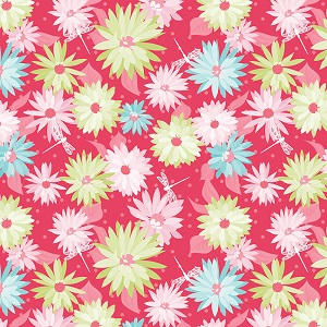 Riley Blake Designs Paper Daisies Main in Dark Pink