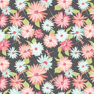 Riley Blake Designs Paper Daisies Main in Gray