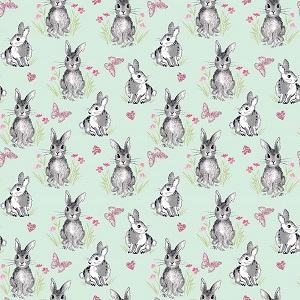 Riley Blake Designs - Pretty Bunnies and Flowers Bunnies in Mint