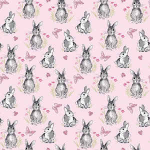 Riley Blake Designs - Pretty Bunnies and Flowers Bunnies in Pink