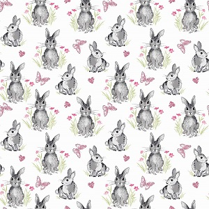 Riley Blake Designs - Pretty Bunnies and Flowers Bunnies in White