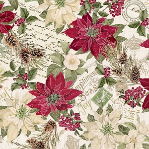 Christmas Timeless Treasures Noel Poinsettia in Cream with Metallic Accents