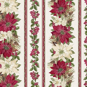 Christmas Timeless Treasures Noel Poinsettia Stripe in Cream with Metallic Accents