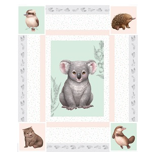 The Devonstone Collection Little Aussie Friends Quilt Panel