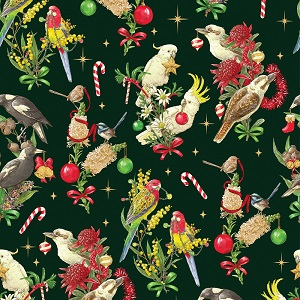 The Devonstone Collection Bush Birds on Dark Green