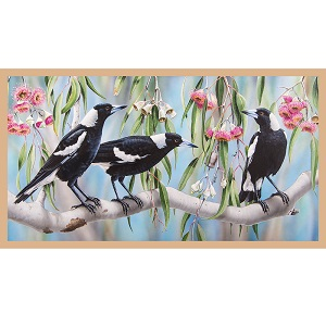 The Devonstone Collection Wildlife Art Panel - Magpies
