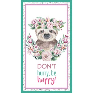 The Devonstone Collection Tropical Zoo Sloth Don't Hurry Be Happy Panel